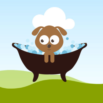 puppy in bath illustration